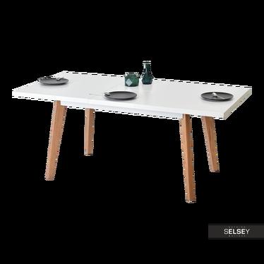 Stół Bel 140(180)x90 cm biały połysk-dąb