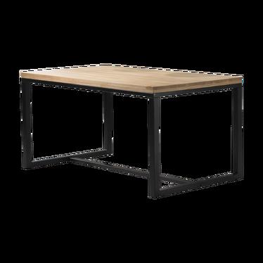 Stół Owens 150x90 cm z litego drewna z czarną podstawą z poziomym wzmocnieniem