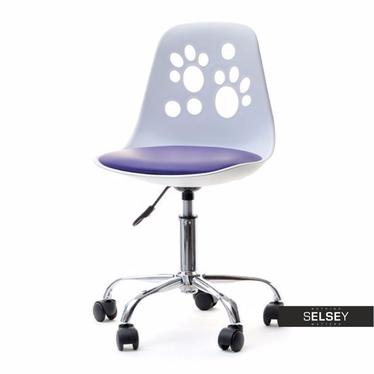 Fotel biurowy Foot biało - fioletowy do biurka dla dzieci