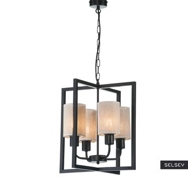 Lampa wiszaca Cteringo x4 z kremowymi klosikami