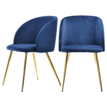 Zestaw dwóch krzeseł Gary niebieskie na miedzianych nogach tapicerowane z podłokietnikami