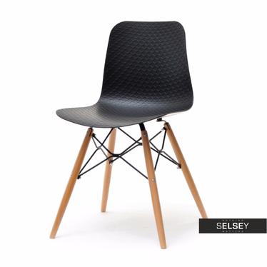 Krzesło Caro czarne z tworzywa i drewna