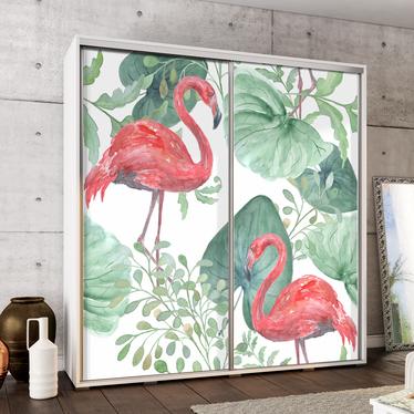 Szafa Wenecja 205 cm Flamingi i monstera