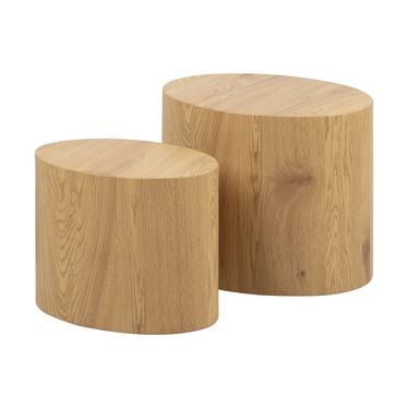 Zestaw dwóch stolików kawowych Plomin 48x33 cm i 40x24,5 cm dąb