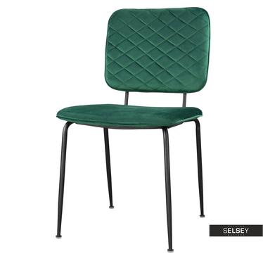 Krzesło tapicerowane Anthony zielone na czarnych nogach ze stali