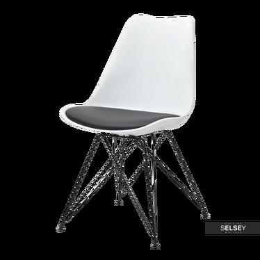 Krzesło Luis rod biało - czarne na czarnej podstawie