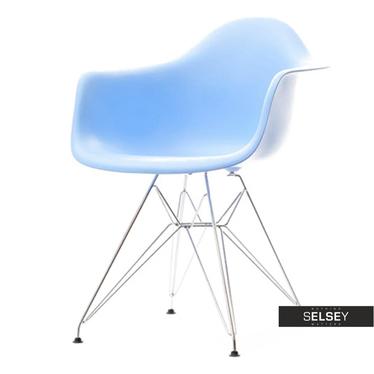 Krzesło MPA rod niebieskie na chromowanych nóżkach