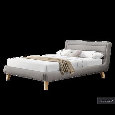 Łóżko tapicerowane Freila 140x200 cm szare