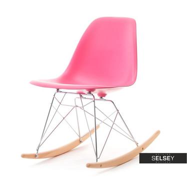 Krzesło bujane MPC roc różowe na drewnianych płozach