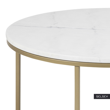 Stolik kawowy Bakar o średnicy 80 cm z mosiężną podstawą i marmurowym blatem