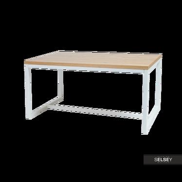 Stół Owens 120x80 cm z litego drewna z białą podstawą z poziomym wzmocnieniem