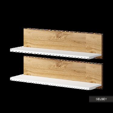 Zestaw dwóch półek Dexter biała z elementami dąb wotan
