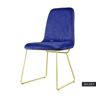 Krzesło Doris granatowe na złotych nogach ze stali
