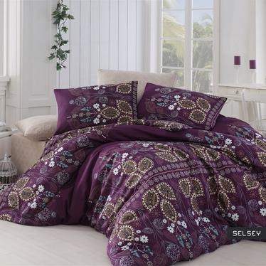 Komplet pościeli Violet Folk 160x220 cm z poszewką na poduszkę 50x70 cm i z prześcieradłem