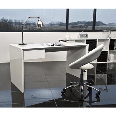 Fotel biurowy Bereg biała ekoskóra