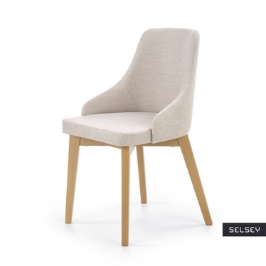 Krzesło Vilaver kremowe - dąb miodowy