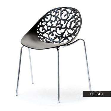 Krzesło Dalia czarne ażurowe
