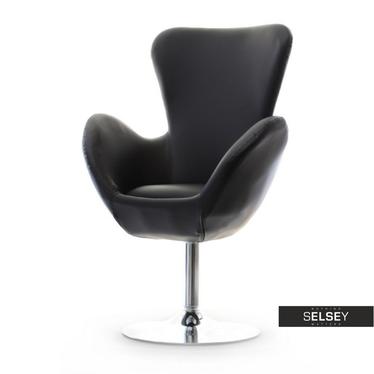 Fotel obrotowy Jacob czarny - chrom uszak ekoskóra