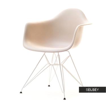 Krzesło MPA rod beżowe na chromowanych nóżkach