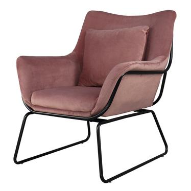 Fotel Tale różowy na czarnej podstawie z wyprofilowanym oparciem
