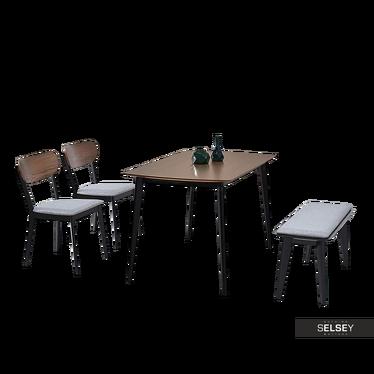 Stół z krzesłami Figaro orzech z ławką na czarnych nóżkach