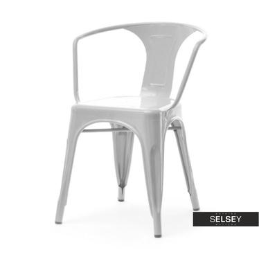 Krzesło Alfredo 2 szare industrialne z metalu