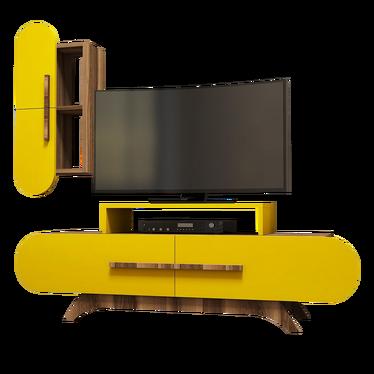 Szafka RTV Ovalia 145 cm z żółtym frontem i wiszącą szafką