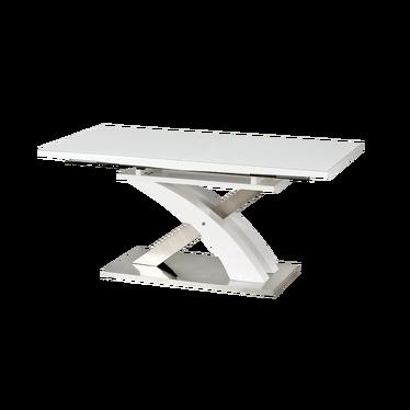 Stół rozkładany Totten 160(220)x90 cm biały ze szklanym blatem