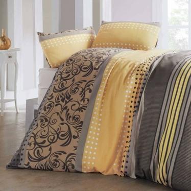Komplet pościeli Sandy 200x220 cm z dwiema poszewkami na poduszki 50x70 cm i prześcieradłem żółto-brązowy