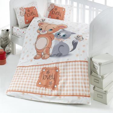 Dziecięca pościel do łóżeczka Lovely Mause and Cat 100x150 cm z dwiema poszewkami na poduszkę 35x45 cm i z prześcieradłem