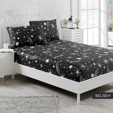 Prześcieradło Holleno 160x200 cm z dwiema poszewkami na poduszki 50x70 cm czarne niebo z gwiazdami