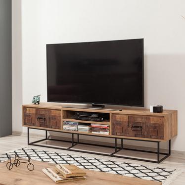 Szafka RTV Kolosu 180 cm sosnowa z dekorem drewnianej mozaiki na frontach