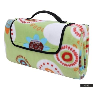 Koc piknikowy Fresh Air 200x200 cm składany w torbę z rączką wzór w kolorowe kwiaty