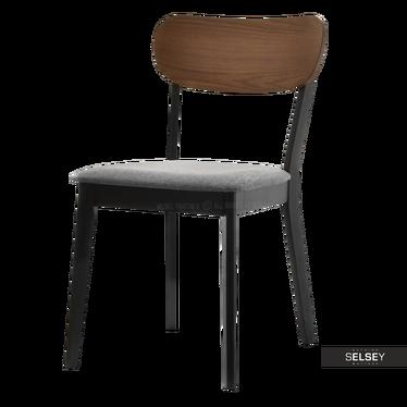 Krzesło Amado czarne z orzechowym oparciem