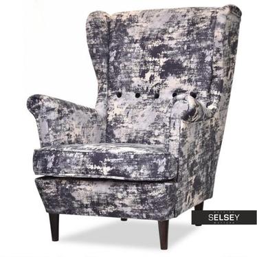 Fotel Malmo czarny marmurek-orzech komfortowy do salonu