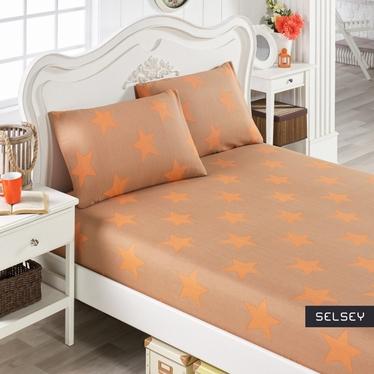 Prześcieradło Team 160x200 cm z dwiema poszewkami na poduszki 50x70 cm pomarańczowe gwiazdy