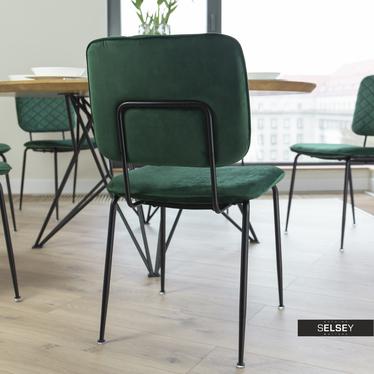 Krzesło Anthony zielone na czarnych nogach ze stali