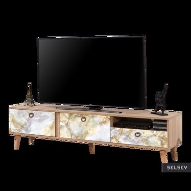 Szafka RTV Smartser 180 cm z frontami ze wzorem złotawego marmuru