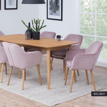 Krzesło Elidi pastelowy róż tapicerowane