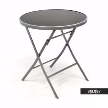 Składany stolik ogrodowy ze szklanym blatem średnica 70 cm