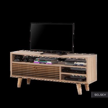 Szafka RTV Smartser 130 cm z frontami w brązowe cieniowane pasy