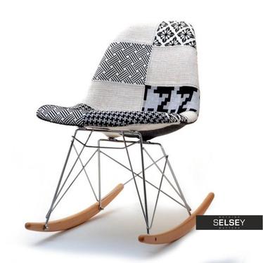 Krzesło bujane MPC roc tap patchwork 2 tapicerowane na biegunach