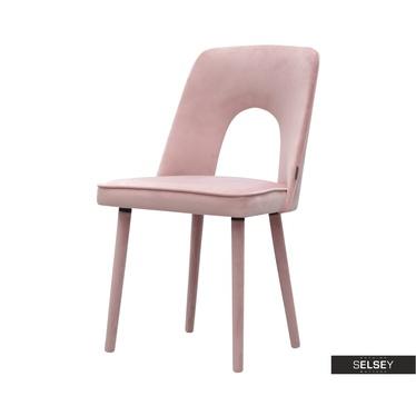 Krzesło Agustii różowe welurowe
