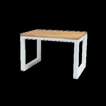 Stół Owens 120x80 cm z litego drewna z białą podstawą
