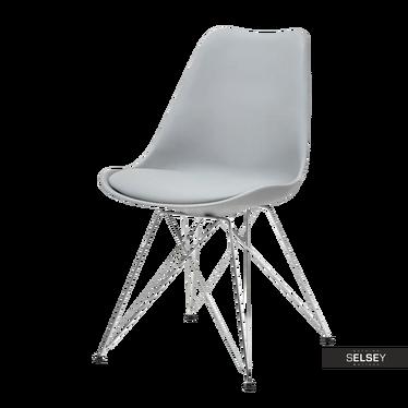 Krzesło Luis rod szare na chromowanej podstawie