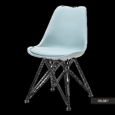 Krzesło Luis rod niebieskie na czarnej podstawie