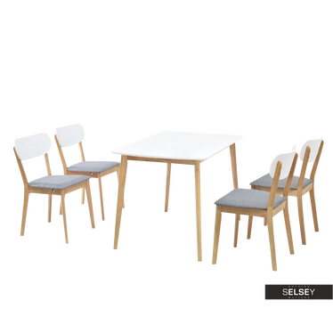Stół z krzesłami Rasto z białym blatem na dębowych nogach
