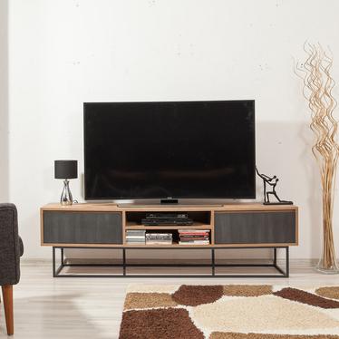 Szafka RTV Kolosu 180 cm sosnowa z grafitowymi frontami