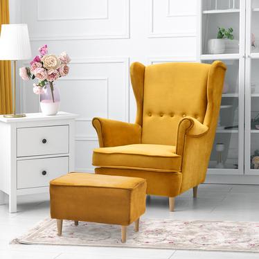 Fotel z podnóżkiem Malmo miodowy