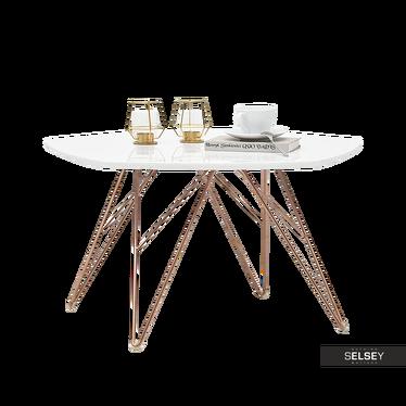 Stolik kawowy Penta 76x75 cm biały - miedź